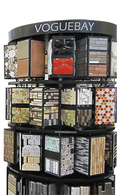 A rack of tile samples